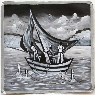 buy Haitian paintings online, fishing