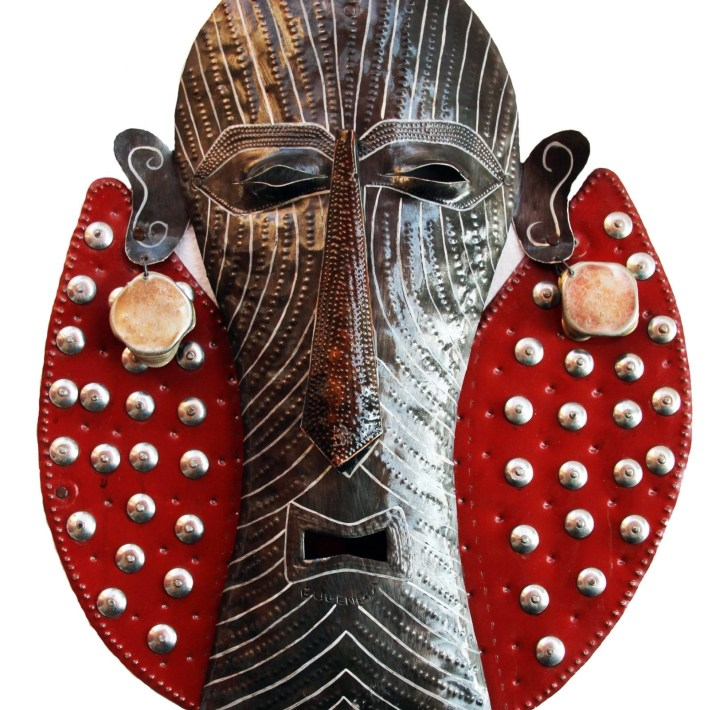 Metal Decorative Mask, Haitian Artist Eugene Jacques