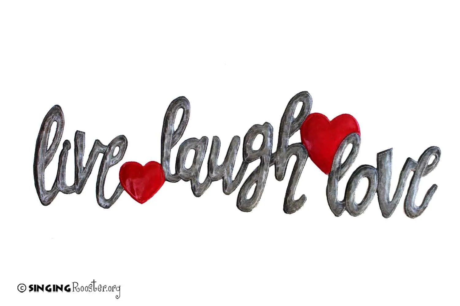 Live Laugh Love Beautiful Metal Word Art Fairtrade