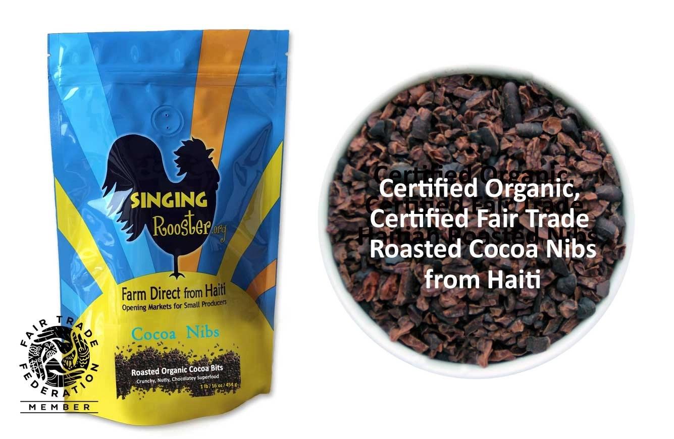 Roasted, organic cocoa nibs from Haiti
