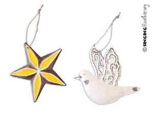 Christmas dove ornaments from Haiti