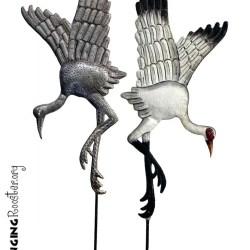 whooping crane metal art