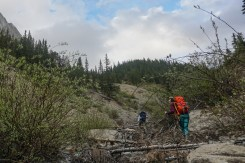 Approaching the point where you leave the drainage and ascend to the hut. Aim for the mound of trees in the center.