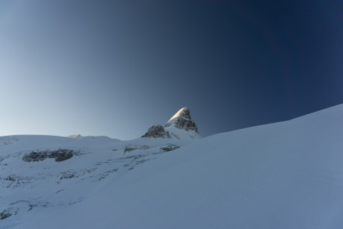 The morning light on St Nicholas from the Bow Hut.
