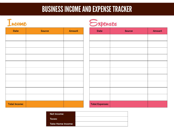 free income and expense template