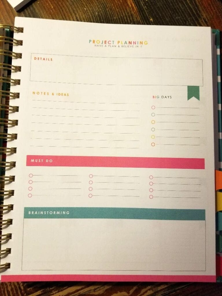 Living Well Planner Project Planning