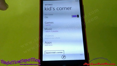 Lumia 720 Kid's Corner Menu