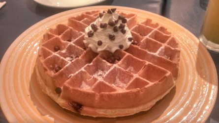 Heaven and Eggs Choco Chip waffles