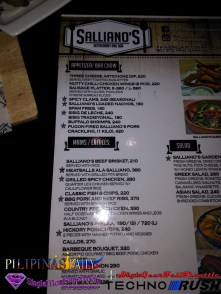 Sallianos Restaurant Menu