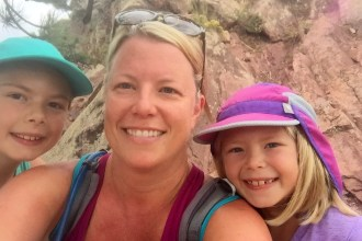 Three of us climbing Mount Sanitas