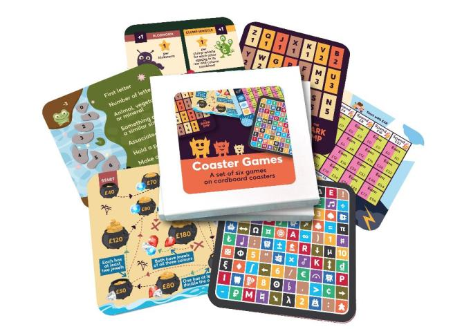 Image of the Coaster Games set of six cardboard games splayed out to see the various options