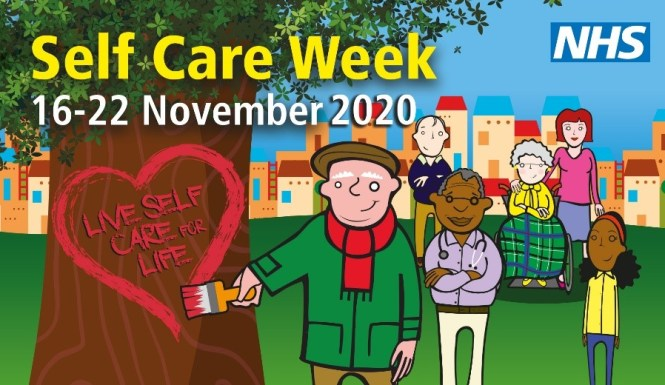 NHS Self Care Week 2020 logo. Includes a man painting a heart on a tree with the motto Live Self Care for Life.