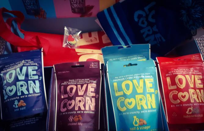 Love Corn packets in a box.