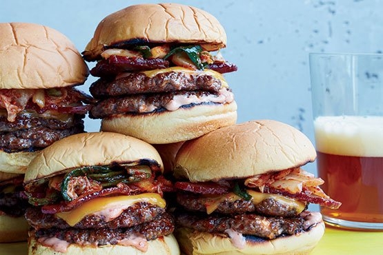 Bacon-and-Kimchi Burgers