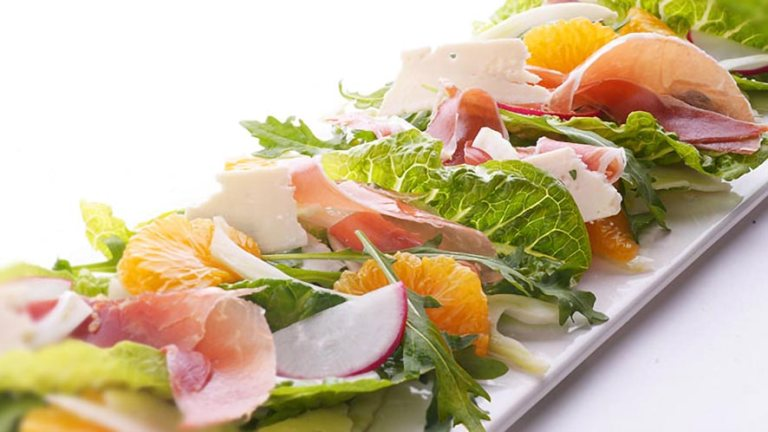 Cos Salad with Radishes, Fennel, Ham, and Grapefruit