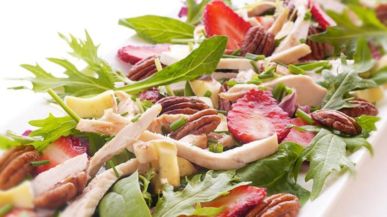Mesclun Salad with Strawberries, Brie, and Maple Pecans Recipe