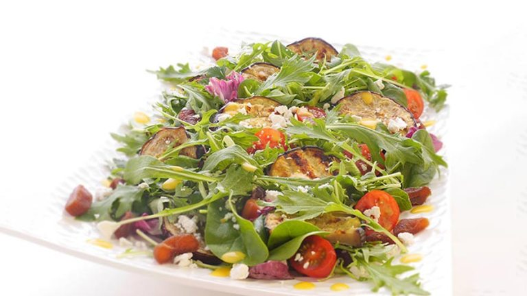 Mesclun with Herbs & Aubergine Steaks with Apricot & Feta Recipe
