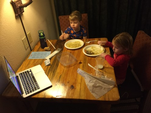 We keep it fancy...buttered noodles and Peppa Pig