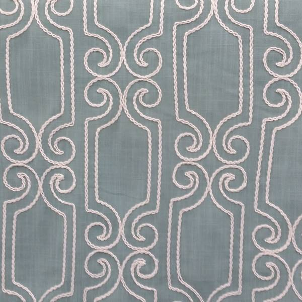 Booker Spa Blue White Embroidered Geometric Swirl Drapery