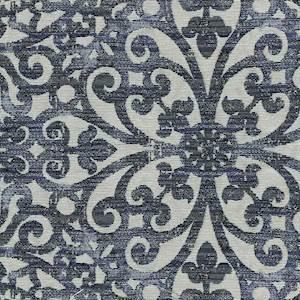 Floral Scroll Indigo Blue Upholstery Fabric 13SEGGA