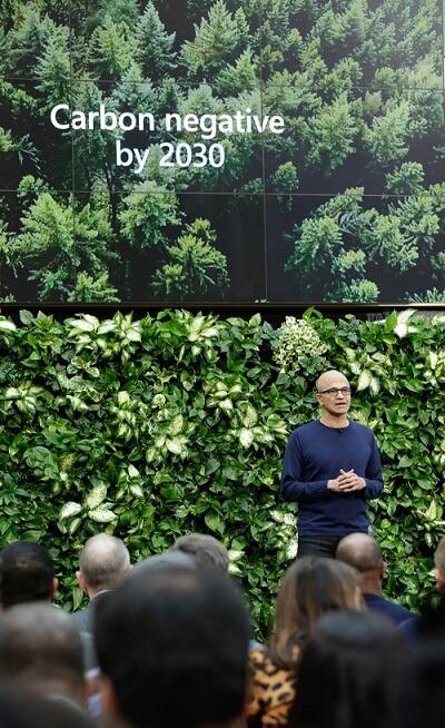 Satya Nadella Microsoft carbon negative 2030