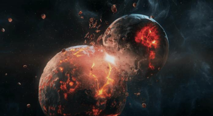 moon creation giant impact hypothesis moon earth theia