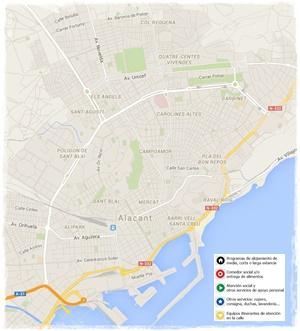 Pulsa sobre la imagen para conocer el mapa de servicios para personas sin hogar en la ciudad de Alicante
