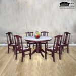 Marble Top With Solid Wood Round Table Base 1 6 Dining Table Kedai Perabot Sin Hup Fatt Ipoh