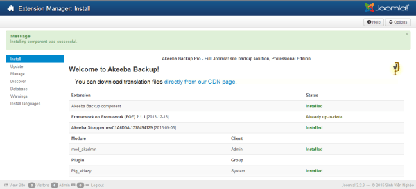 Backup joomla với Akeeba Backup