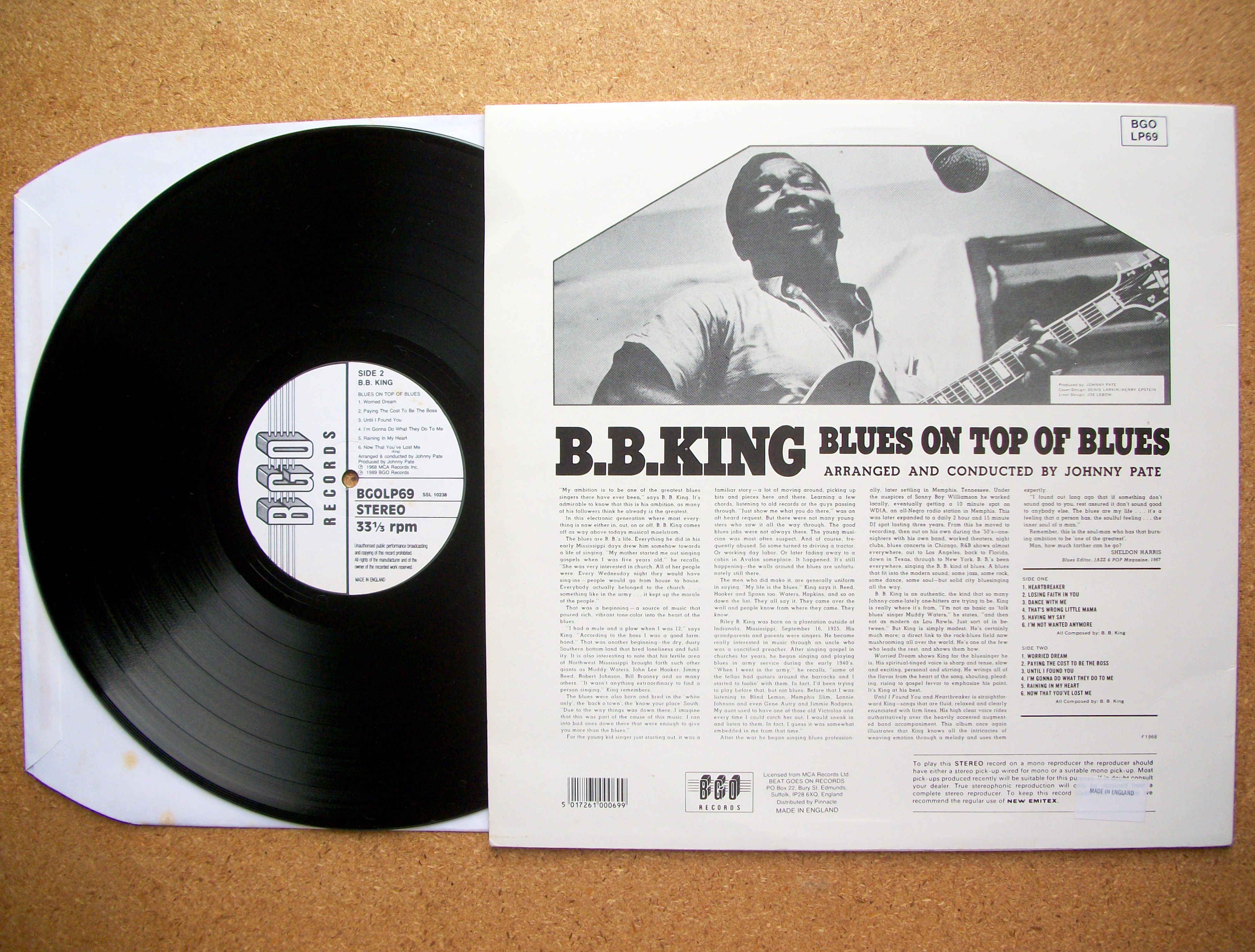 Sinister Vinyl Collection B B King Blues On Top Of Blues
