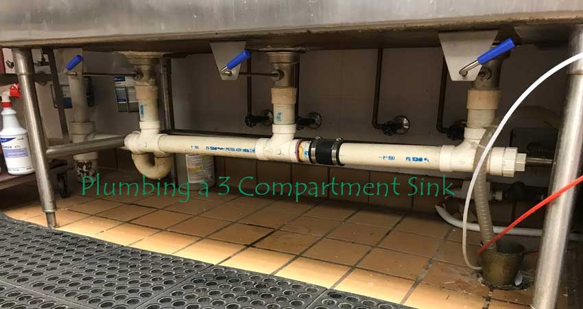 how to plumb a 3 compartment sink