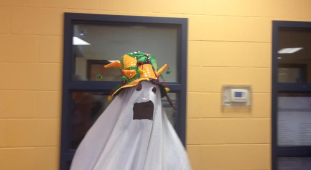 A man who decline to give his name showed up to vote in Gatineau dressed as a ghost. (CBC News)