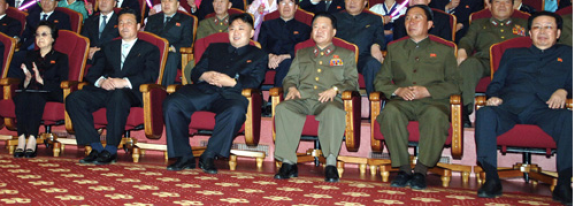 Wife-husband team of Kim Kyong Hui, extreme left, and Jang Song Taek, extreme right, both with sunglasses, flanking the Respected General and nephew Kim Jong Un at Unhasu Orchestra May 1 concert, 2012 | Image via Rodong Sinmun