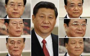China's new Politburo Standing Committee members: Leader of China Communist Party Xi Jinping (centre), (clockwise from top left) Zhang Dejiang, Li Keqiang, Yu Zhengsheng, Liu Yunshan, Wang Qishan, Zhang Gaoli.  Image courtesy Reuters