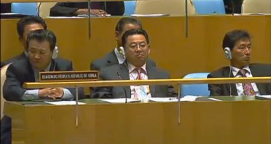 The DPRK delegation at a UN meeting, unfortunately it wasn't as a credentialed party of UNFCC.