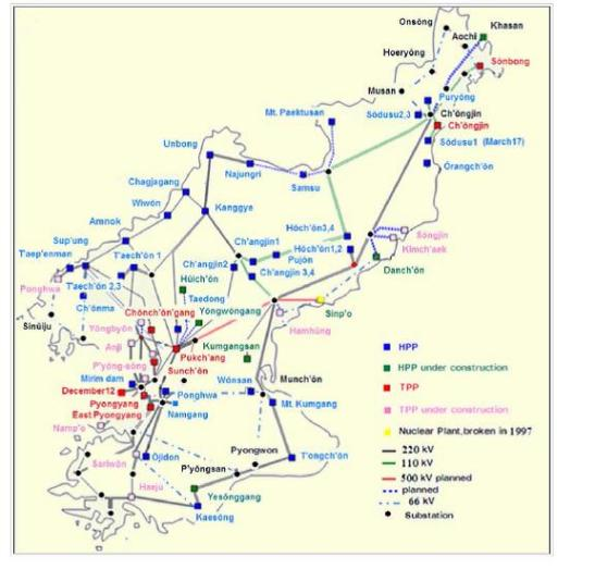 DPRK energy grid as of 1990.  We expect some things have degraded since then. Via Nautilus Institute, p 64