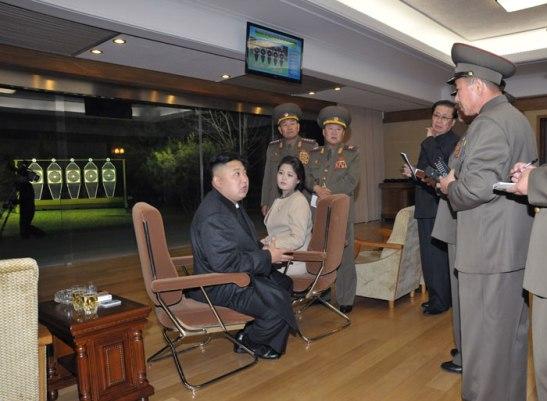 Kim Jong-un and Ri Sol-ju at a shooting range.  Image via Rodong Sinmun