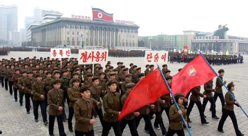 Mobilizing for a Patriotic Song Contest in Pyongyang | Image via Rodong Sinmun, March 18 2013