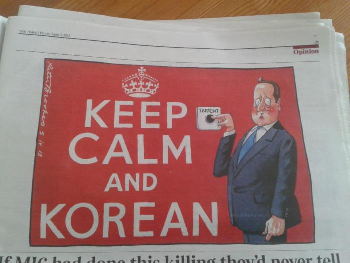 A cartoon published by The Times following David Cameron's op-ed linking Britain's nuclear deterrent to the risk posed by North Korea | photo ⓒDestination Pyongyang