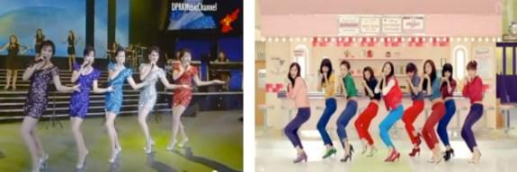Left: North Korea's Moranbong Band, Right: South Korea's Girls' Generation