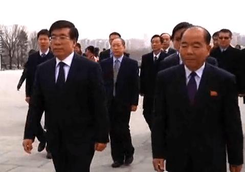 Ambassador Liu Hongcai, on the high wire up Mansudae Hill   Chosun Central TV screen capture