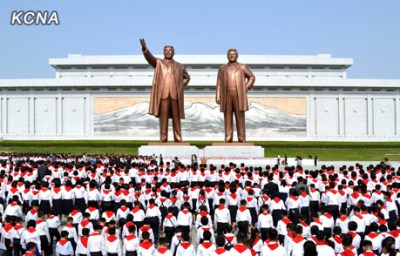 Korean Children's Union delegates made the obligatory trek to Mansu Hill in Pyongyang at the 2012 rally | Source: KCNA
