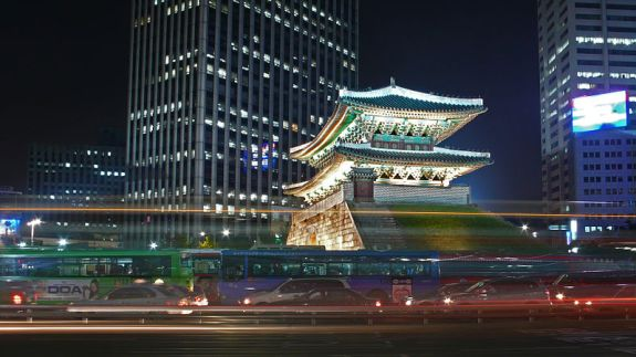 "Seoul's Namdaemun (South Gate). The epitome of a ""big lights, big city"" infrastructure and atmosphere. Image: TylerDurden1/Wikipedia, Creative Commons 2.0"