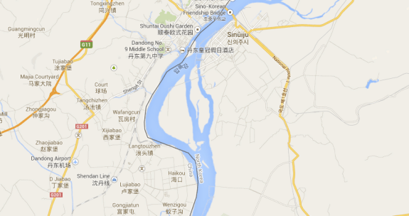 Hwanggumpyong Island, unlabeled by Google Maps, nestled between China (on the left) and North Korea (on the right).