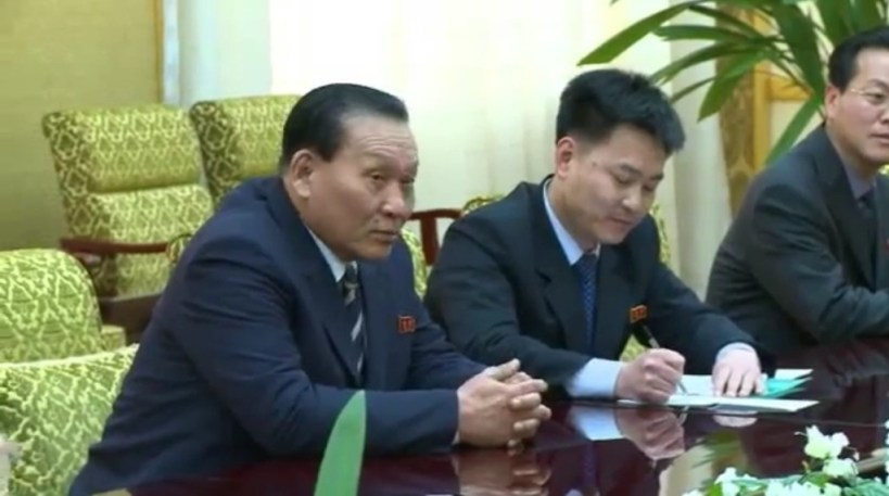 Kim Yong-dae meets a Chinese delegation in Pyongyang, March 20, 2014. Image via Chosun Central TV.