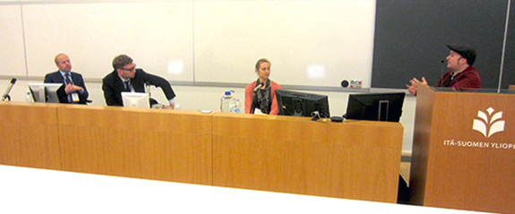 The panel in action. From left to right: Chris Green, Steven Denney, Darcie Draudt, and Robert Winstanley-Chesters