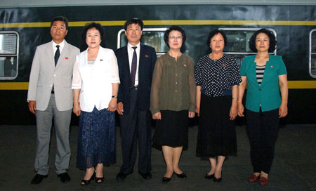 The General Association of Koreans in China arrives to the DPRK | Image: Rodong