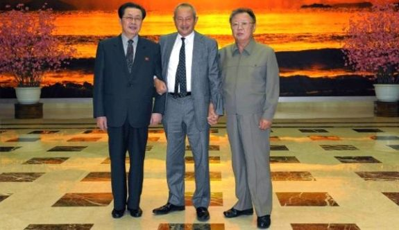 In happier times: Jang Sung-taek with his brother-in-law, the late Kim Jong-il, and visiting CEO of Orascom Telecom Media and Technology, Naguib Sawiris. | Image: KCNA