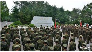 The Red Flag Relay Reaches Panmunjom. This sort of assembly is actively encouraged and typically required. | Image: KCNA