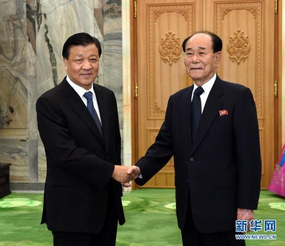 Liu Yunshan with Kim Yong-nam, right; image via PRC Embassy in Pyongyang.